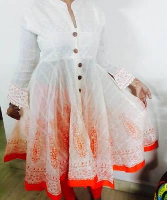 Designer cotton party wear kurti long ghera
