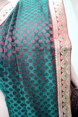 Olive Green Banaras Saree