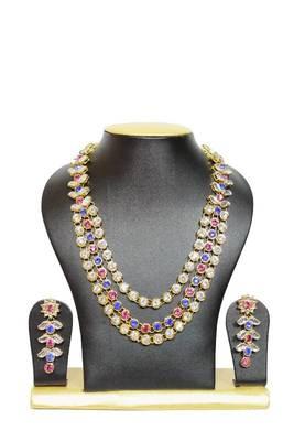 Stylish Triple Chain Kundan Jewelry Set in Pink and Blue