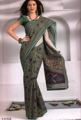 Saree Cambric Cotton Designer Prints With Blouse Piece D.No D1039