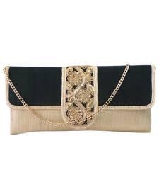 Buy Clutch with U Strip Flap(Black) eid-bag online
