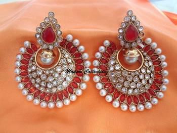 Gorgeous Orange & pearl Studded Earrings