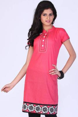 Brink Pink Cotton Embroidered Party and Festival Kurti