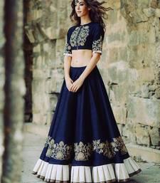 Buy Blue embroidered art silk unstitched ghagra choli ghagra-choli online