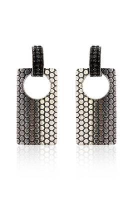 Just Women Silver Metal and Stone Geometric Earrings