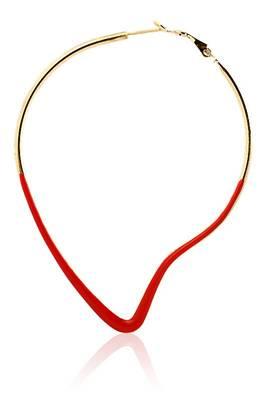 Just Women Red Metal base Mango Shaped  Earrings