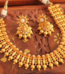 Buy BEAUTIFUL MATTE FINISH PEARL NECKLACE SET-DJ05382 south-indian-jewellery online
