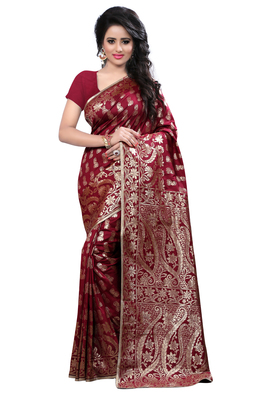 Maroon printed banarasi saree with blouse