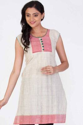 Beige Brown and Light Brink Pink Cotton Printed Casual and Party Kurti