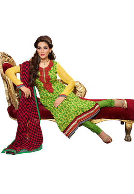 CottonBazaar Green Colored Pure Cotton Semi-Stitched Salwar Suit