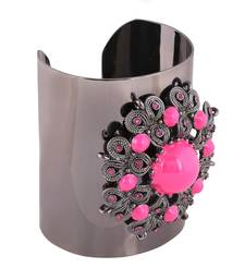 Buy Lotus Crystal Rhodium Plating Cuff for Women party-jewellery online
