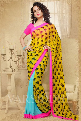 Yellow and Blue Coloured Georgette Saree
