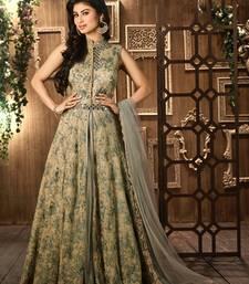Buy Grey net embroidered semi stitched salwar with dupatta salwars-and-churidar online