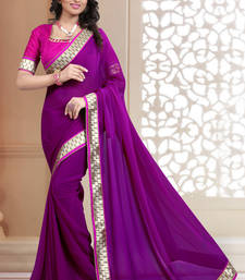 Buy Weding Special  Magenta plain georgette saree with blouse below-1500 online