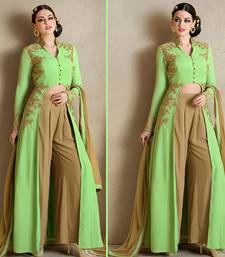 Buy Pista green georgette embroidered semi stitched salwar with dupatta palazzo online