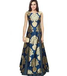 Buy Navy blue  printed semi stitched party wear gown party-wear-gown online
