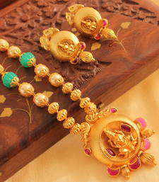 Buy BEAUTIFUL MATTE FINISH LAKSHMI NECKLACE SET-DJ05390 south-indian-jewellery online