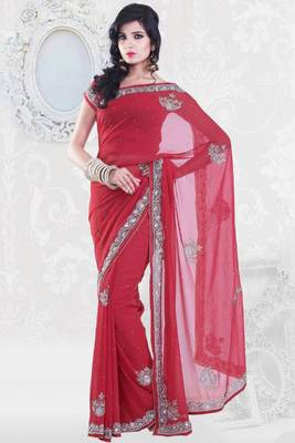 Cardinal Red Faux Georgette Embroidered Party and Festival Saree