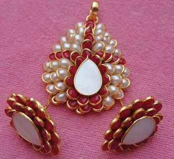 Orange white pachi pendent with earrings
