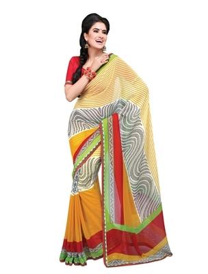 Triveni Lovely Linear & Vine Motif Georgette Indian Designer Saree TSVF9807