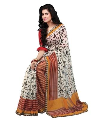 Triveni Stylish Vine & Lining Patterned Printed Indian Designer Saree TSVF9816