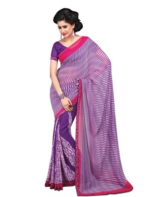 Triveni Classy Abstract Patterned Faux Georgette Indian Designer Saree TSVF9822