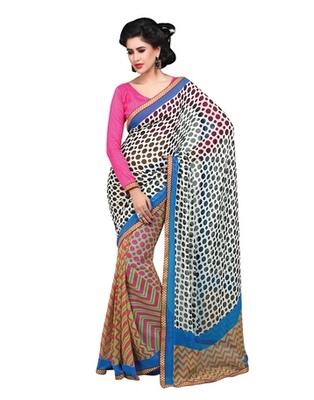 Triveni Pleasing Polka Dots Motif Faux Georgette Indian Designer Saree TSVF9824