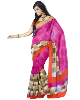 Triveni Wonderful Checkered Pattern Bhagalpuri Traditional Saree TSVF10015