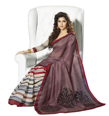 Triveni Elegant Lining Patterned Bhagalpuri Indian Traditional Saree TSVF10019