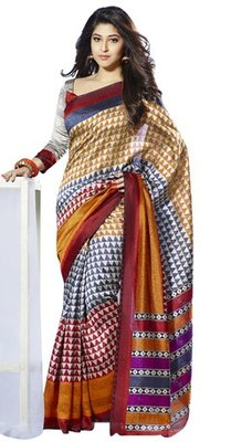 Triveni Impressive Temple Motif Bhagalpuri Silk Traditional Saree TSVF10022