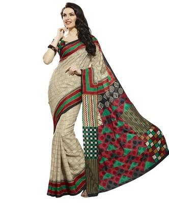 Triveni Trendy Geometrical Patterned Bhagalpuri Traditional Saree TSVF10039