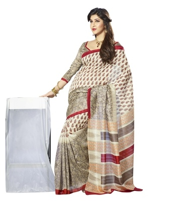 Triveni Lovely Floral Printed Bhagalpuri Silk Indian Traditional Saree TSVF10041