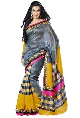 Triveni Alluring Geometrical Pattern Bhagalpuri Traditional Saree TSVF10059