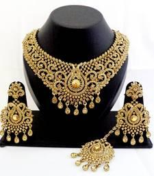 Buy Designer golden stone wedding necklace set with maang tikka pakistani-jewellery online