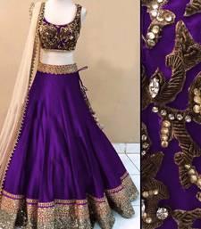 Buy Purple art silk embroidery unstitched lehenga choli navratri-lehenga-chaniya-choli online
