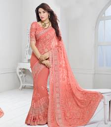 Buy Peach embroidered chiffon saree with blouse chiffon-saree online