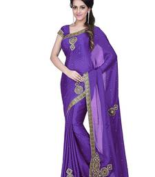 Buy Purple embroidered chiffon saree with blouse chiffon-saree online