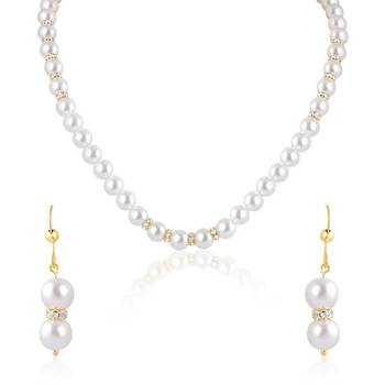 Oviya   Gold  Plated Snow White Pendant set with Pearl Stone