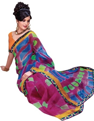 Triveni Appealing Colorful Supernet Printed Indian Designer Saree TSVF9728