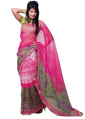 Triveni Fashionable Linear Pattern Printed Indian Designer Saree TSVF9734