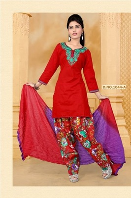 NeelFab Red cotton stitched  Salwar Suit:1044-A