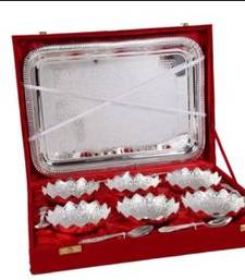Buy German Silver 6 Flower Bowl Dinner Set with Tray other-home-accessory online