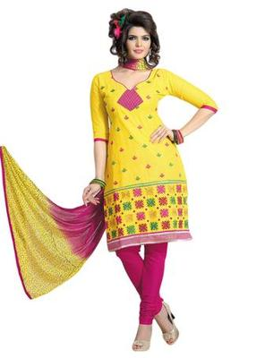 Salwar Studio Yellow & Pink Cotton unstitched churidar kameez with dupatta ES-9066