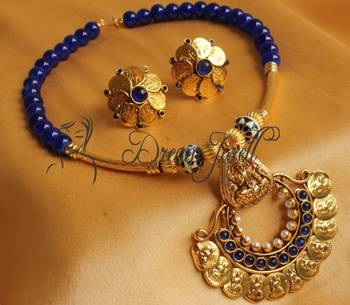 DIVINE ANTIQUE BLUE LAKSHMI NECKLACE SET-DJ04353