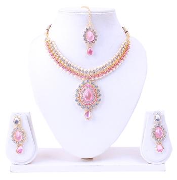 Golden stone diamond necklace sets