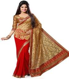 Buy Red and golden printed georgette saree with blouse half-saree online