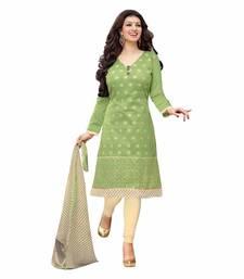 Buy light green chanderi embroidered semi stitiched salwar with dupatta salwar-kameez-below-2000 online