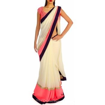 Baby pink plain chiffon saree with blouse