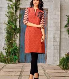 Buy Orange Georgette printed stitched kurti eid-kurti online