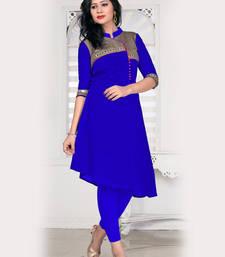 Buy Royal blue bangalori silk a line fancy kurti pakistani-kurtis online